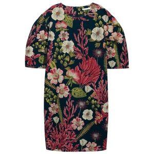 H&M Palm Floral Cotton Shift Dress